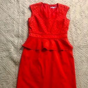 Antonio Melani Size 8 red Peplum Dress